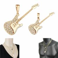 Pendentif guitare rock en plaqué or, modèle au choix