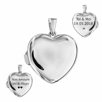 Pendentif cassolette coeur, porte-photos + gravure, argent 925 rhôdié - 2.5cm