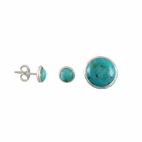 "Boucles turquoise ""extra"" & argent 925 - 6mm ou 1cm"