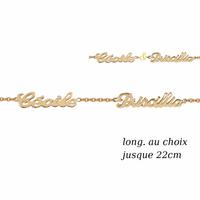 Bracelet 2 prénoms découpés, plaqué or - 17 à 22cm
