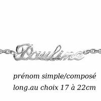 Bracelet prénom argent 925, long. 17 à 22cm !