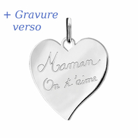 Pendentif coeur Maman on t'aime, argent 925 rhôdié  + gravure