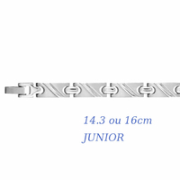 Bracelet diagonales Junior, 7mm, acier, long. 14.3 ou 16cm