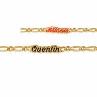 Gourmette 3mm, plaqué or + gravure - 14-16cm