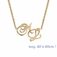 Collier 2-3 initiales grand format, plaqué or, 40 à 60cm !