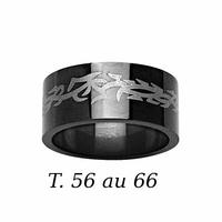 Bague motif tribal céramique noire, T. 54 au 66