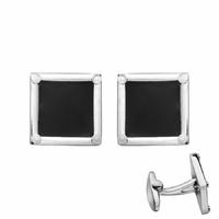 Boutons de manchette acier & résine noire, carrés 1.5cmx1.5cm