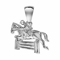 Pendentif cheval, cavalier au saut d'obstacle, argent 925, hauteur 2cm