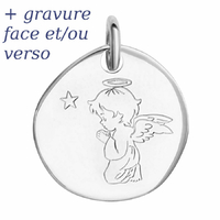 Pendentif ange qui prie argent 925 rhôdié +gravure, 2.2cm