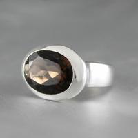 Bague quartz fumé & argent 925, T. 55
