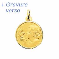 Médaille Ange & colombe + gravure verso, plaqué or, haut. 2.2cm