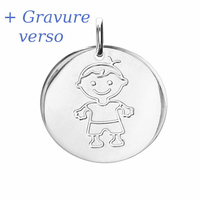 Médaille garçon argent 925 rhôdié + gravure, haut. 2.3cm
