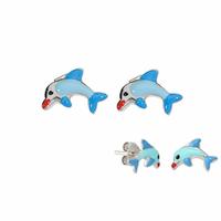 Boucles dauphins bleus argent 925 rhôdié, puces 1.2cm