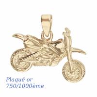 Pendentif moto cross plaqué or, 3cm x 2.5cm de haut