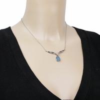 Collier Opale bleue & argent 925 rhôdié, régl. 42 à 47cm