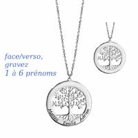 Collier arbre de vie 1 à 6 prénoms, argent 925 + long. 40 à 60cm !