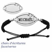 Bracelet ballon de rugby + gravure(s), acier, cordon coulissant