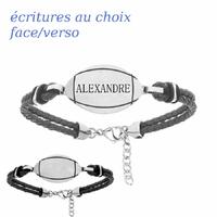 Bracelet ballon de rugby + gravure, cuir noir & acier, Junior ou adulte