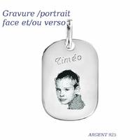 Pendentif portrait, gravure, argent 925, haut 3.2cm
