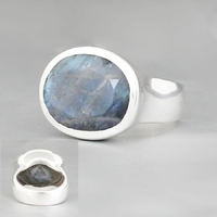 Bague labradorite & argent 925, T. 55, photo contractuelle