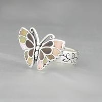 Bague nacre dorée & argent 925, Papillon 1.5 x 2cm, T. 52 & 54