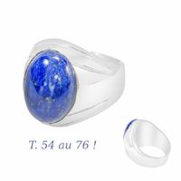 Chevalière lapis-lazuli & argent 925 (19g) T. 54 au 76 !