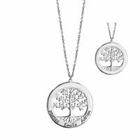 Collier arbre de vie 1 à 6 gravures face+verso - 40 à 60cm, argent 925 rhôdié