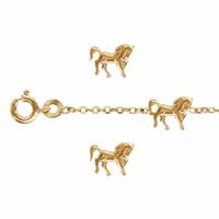 Bracelet 3 chevaux en plaqué or, régl. de 14 à 17cm