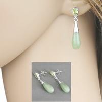 Boucles Jade vert, péridot & argent 925, long. 3.5cm