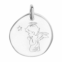 Pendentif ange qui prie + gravure, argent 925 rhôdié, 2.2cm