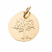 Pendentif arbre de vie + gravure, plaqué or, haut. totale 2cm