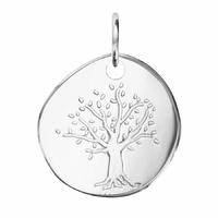 Pendentif arbre de vie + gravure face/verso, argent 925 option rhôdié