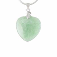 Pendentif Coeur Jade vert & argent 925, haut. 3cm