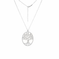 Collier arbre de vie 2.2x2.8cm, régl. 40 à 45cm, argent 925 + rhôdié