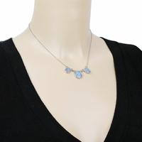 Collier Opales bleues & argent 925 rhôdié - 42cm à 47cm