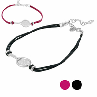 Bracelet raquette de tennis 14 à 21cm, cordon noir ou bordeaux, argent 925