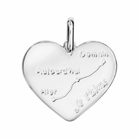 Pendentif coeur courbe d'amour + gravure verso, argent 925 rhôdié