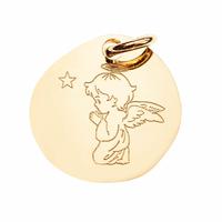 Pendentif ange qui prie en Vermeil + gravure, 2.2cm