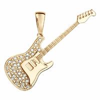 Pendentif guitare rock, modèle au choix, plaqué or