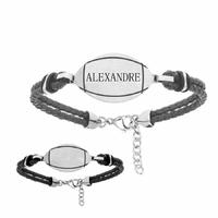 Bracelet rugby + gravure, cuir noir & acier, Junior ou adulte