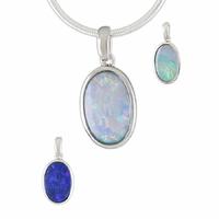 Pendentif Opale bleue & argent 925 rhôdié, photos contractuelles