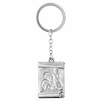 Porte clés St Christophe + gravure verso, acier, modèle au choix