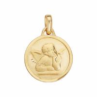 Médaille ange + gravure, haut. 2.2cm, plaqué or
