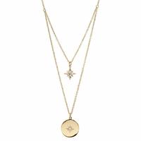 Collier étoile + gravure verso, réglable jusque 44cm, plaqué or