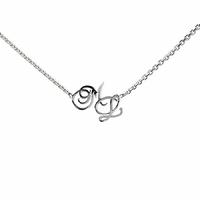 Collier 2 ou 3 initiales, chaîne alternée 40 à 60cm, argent 925