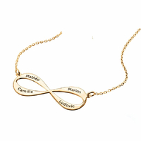 Collier Infini 1 à 4 prénoms face+verso - 40 à 60cm ! plaqué or 18K