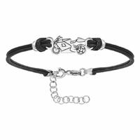 Bracelet moto + gravure - 16 à 20cm, argent 925