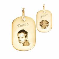 pendentif portrait, gravure, plaqué or, haut. 3.2cm