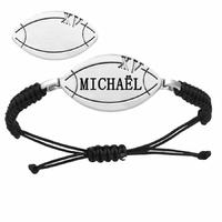Bracelet rugby + gravure(s), acier, cordon coulissant