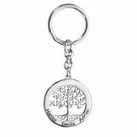 Porte clés arbre de vie 1 à 6 gravure(s), face + verso, argent 925 rhôdié